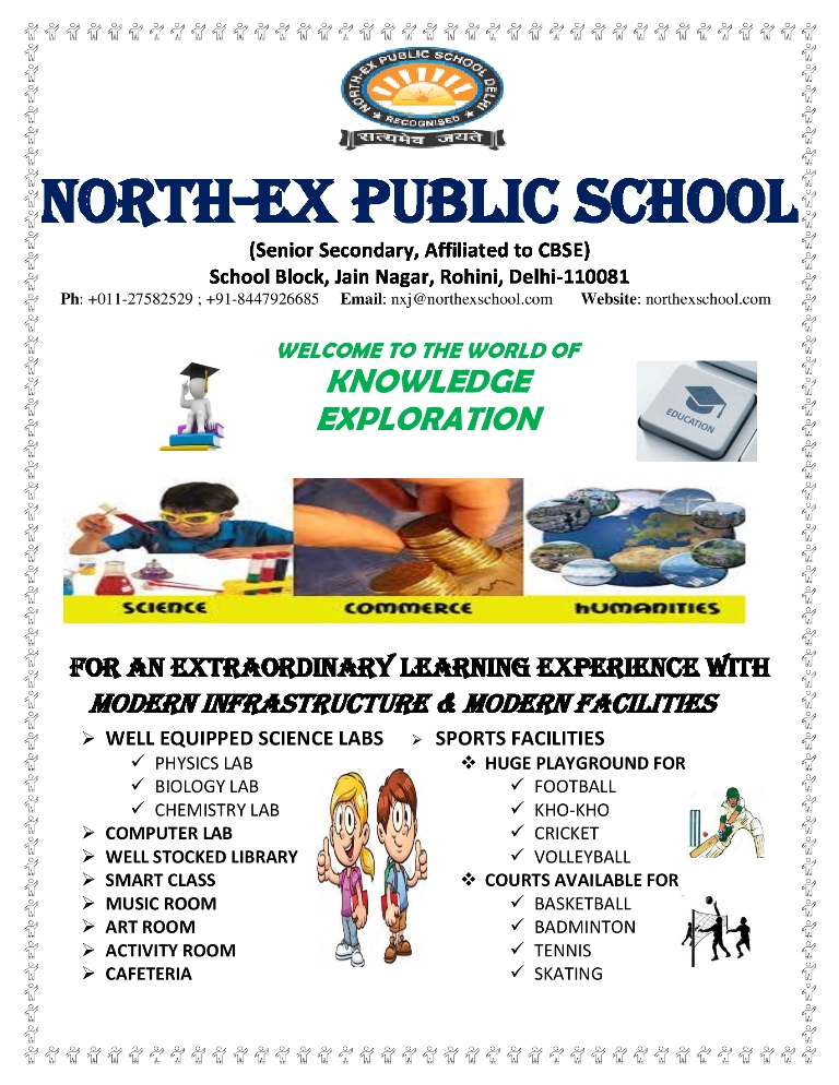 At North-Ex your child can pursue their dreams by taking up any of the three streams Science, Commerce & Humanities in class XI & XII