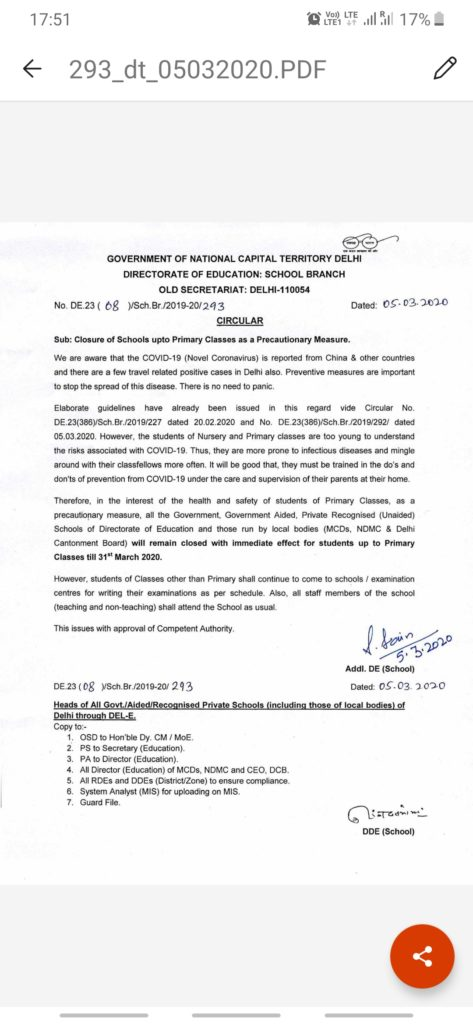 School will remain closed upto class 5 as has been notified by GOVT of delhi to prevent spread of coronavirus Classes 6 onward will have regular exam schedule.