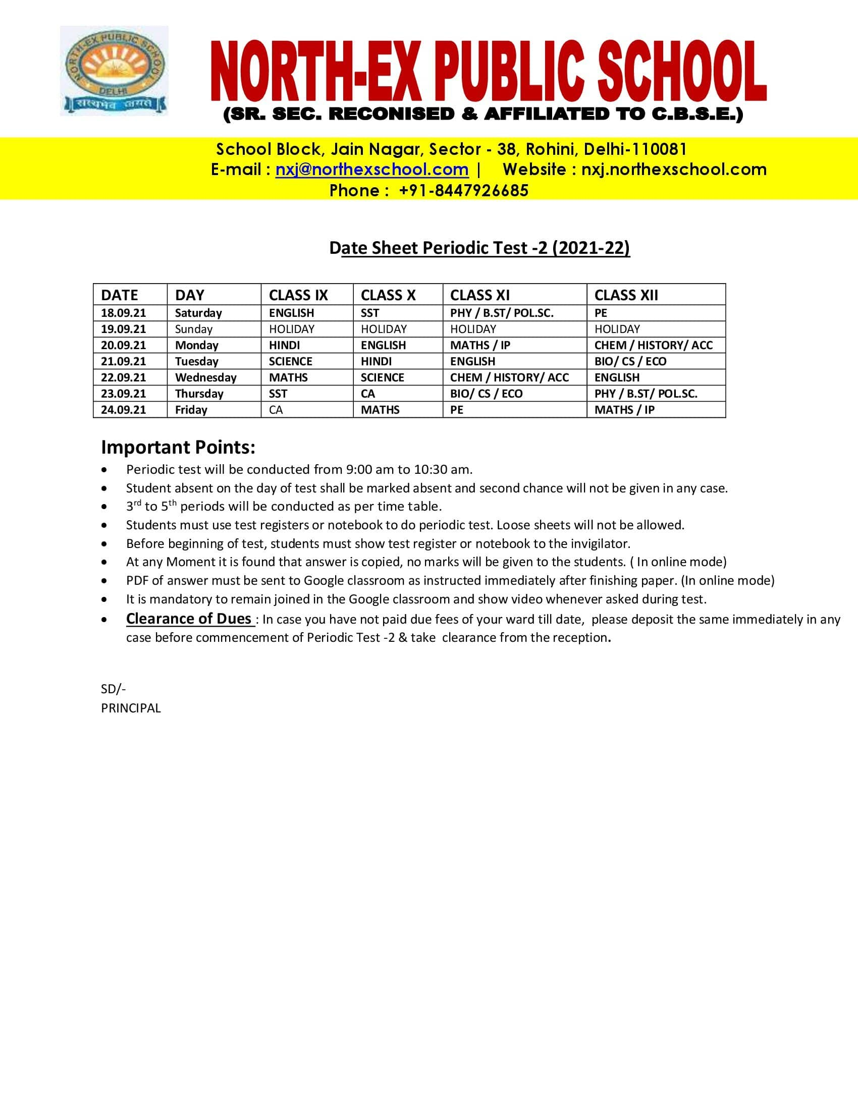 Date Sheet Periodic Test -2 Class 9 To 12 2021-22